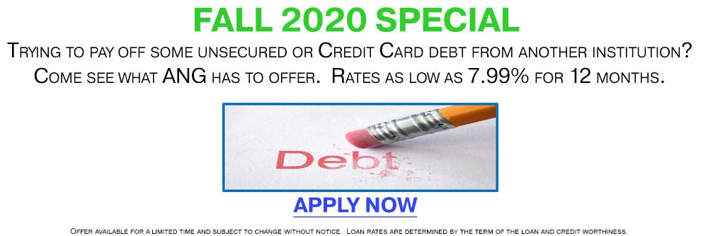 Pay off unsecured or Credit Card debt from another institution. Rates as low as 7.99%